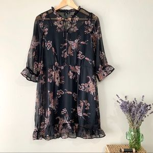 Vero Moda Black Floral Boho Dress NWOT